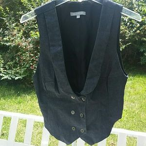 NY Collection Jean Vest Button Front New Large